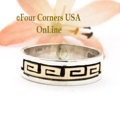 Size 7 3/4 14K Gold Sterling Silver Spirals Band Ring Navajo David Skeets NAR-1889 Four Corners USA OnLine Native American Jewelry