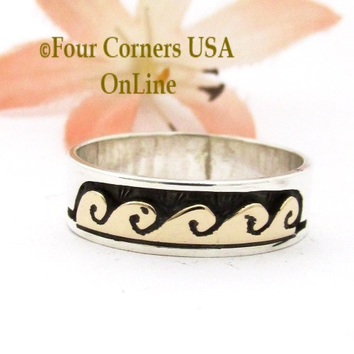 Size 7 3/4 14K Gold Sterling Wave Water Symbol Band Ring Navajo Peggy Skeets NAR-1890 Four Corners USA OnLine Native American Jewelry