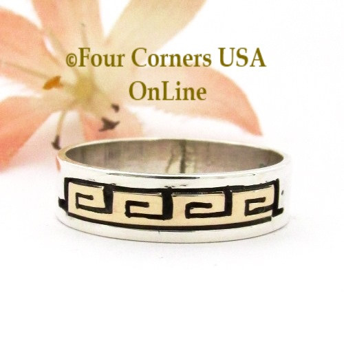Size 9 3/4 14K Gold Sterling Spiral Band Ring Navajo David Skeets NAR-1891 Four Corners USA OnLine Native American Jewelry