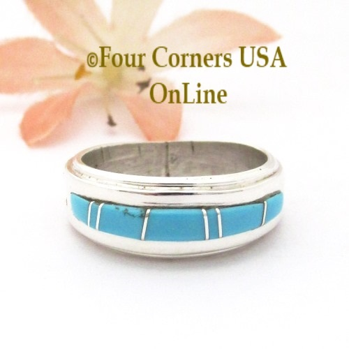 Size 7 Turquoise Inlay Ridge Band Ring Navajo Wilbert Muskett Jr WB-1774 Four Corners USA OnLine Native American Jewelry