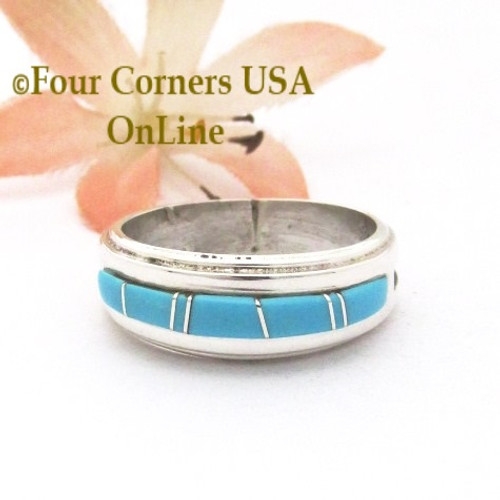 Size 8 1/2 Turquoise Inlay Ridge Band Ring Navajo Wilbert Muskett Jr WB-1776 Four Corners USA OnLine Native American Jewelry