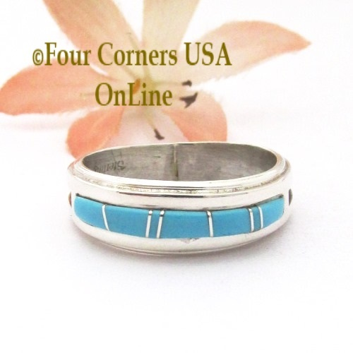 Size 9 1/2 Turquoise Inlay Ridge Band Ring Navajo Wilbert Muskett Jr WB-1777 Four Corners USA OnLine Native American Jewelry