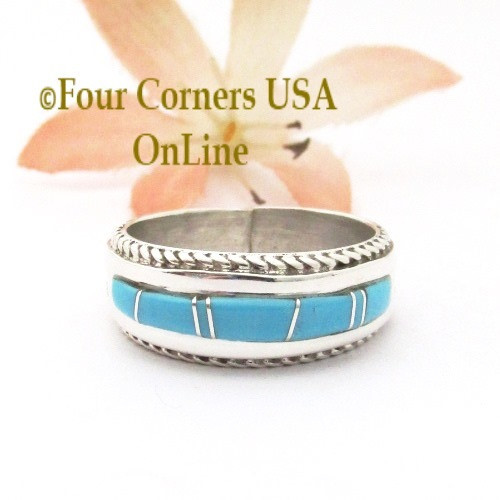 Size 7 1/2 Turquoise Inlay Rope Band Ring Navajo Wilbert Muskett Jr WB-1781 Four Corners USA OnLine Native American Jewelry