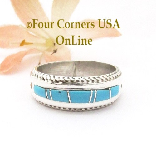 Size 8 1/2 Turquoise Inlay Rope Band Ring Navajo Wilbert Muskett Jr WB-1782 Four Corners USA OnLine Native American Jewelry