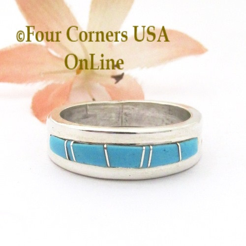 Size 9 Turquoise Inlay Straight Edge Band Ring Navajo Wilbert Muskett Jr WB-1786 Four Corners USA OnLine Native American Silver Jewelry