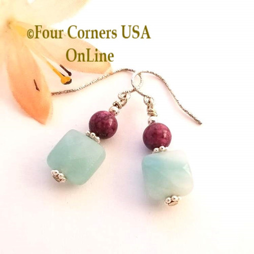 Amazonite Purple Fossil Coral Sterling Silver Dangle Pierced Earrings FCE-1601 Four Corners USA OnLine American Artisan Handcrafted Jewelry