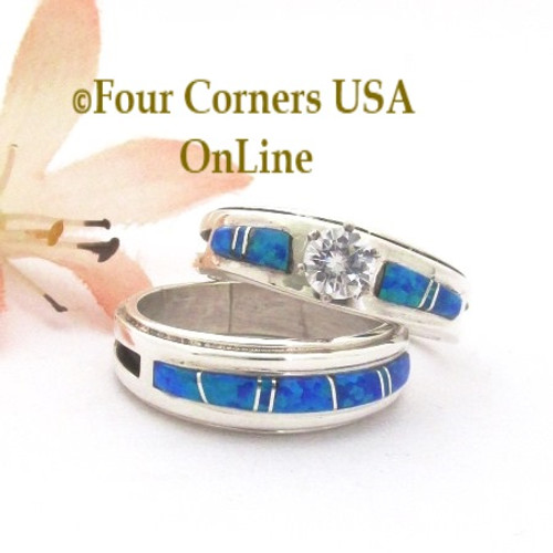 Size 8 1/2 Blue Fire Opal Inlay Engagement Bridal Wedding Ring Set Navajo Wilbert Muskett Jr WS-1681 Four Corners USA OnLine Native American Jewelry