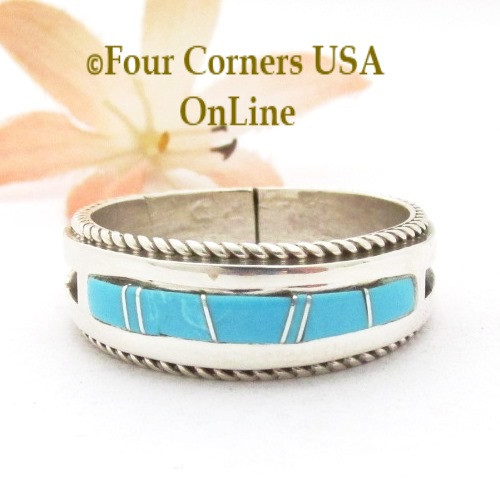 Size 14 Turquoise Inlay Band Ring Twisted Wire Rope Accent Navajo Wilbert Muskett Jr WB-1796 Four Corners USA OnLine Native American Silver Jewelry