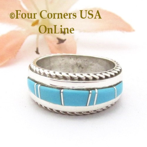 Size 4 Turquoise Inlay Ring with Twisted Wire Rope Accent Navajo Wilbert Muskett Jr WB-1797 Four Corners USA OnLine Native American Jewelry