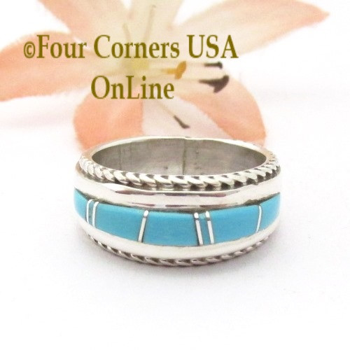 Size 4 1/2 Turquoise Inlay Ring with Twisted Wire Rope Accent Navajo Wilbert Muskett Jr WB-1799 Four Corners USA OnLine Native American Jewelry