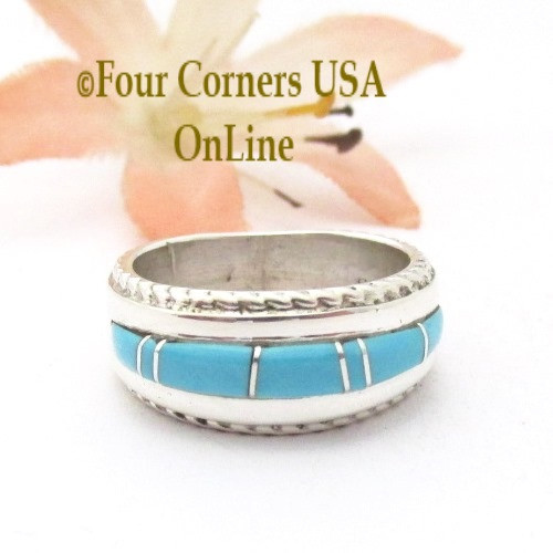 Size 4 1/2 Turquoise Inlay Ring with Twisted Wire Rope Accent Navajo Wilbert Muskett Jr WB-1800 Four Corners USA OnLine Native American Jewelry