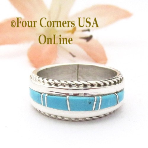 Size 5 Turquoise Inlay Ring with Twisted Wire Rope Accent Navajo Wilbert Muskett Jr WB-1801 Four Corners USA OnLine Native American Jewelry