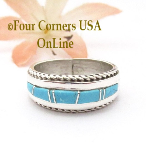 Size 6 1/4 Turquoise Inlay Ring with Twisted Wire Rope Accent Navajo Wilbert Muskett Jr WB-1803 Four Corners USA OnLine Native American Jewelry