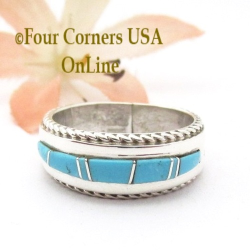 Size 6 1/2 Turquoise Inlay Ring with Twisted Wire Rope Accent Navajo Wilbert Muskett Jr WB-1804 Four Corners USA OnLine Native American Jewelry