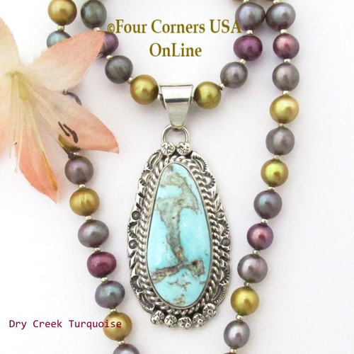On Sale Now Dry Creek Turquoise Pendant Multi Color Adjustable Bead Necklace Navajo Nita Edsitty NAP-1437BDS Four Corners USA OnLine Native American Artisan Silver Jewelry