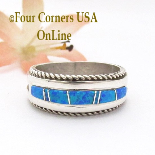 Size 10 1/2 Blue Fire Opal Inlay Band Ring Navajo Artisan Wilbert Muskett Jr WB-1814 Four Corners USA OnLine Native American Indian Silver Jewelry