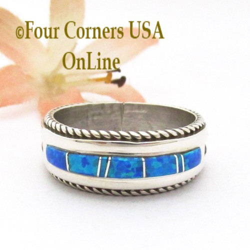 Size 11 Blue Fire Opal Inlay Band Ring Navajo Artisan Wilbert Muskett Jr WB-1816 Four Corners USA OnLine Native American Indian Silver Jewelry