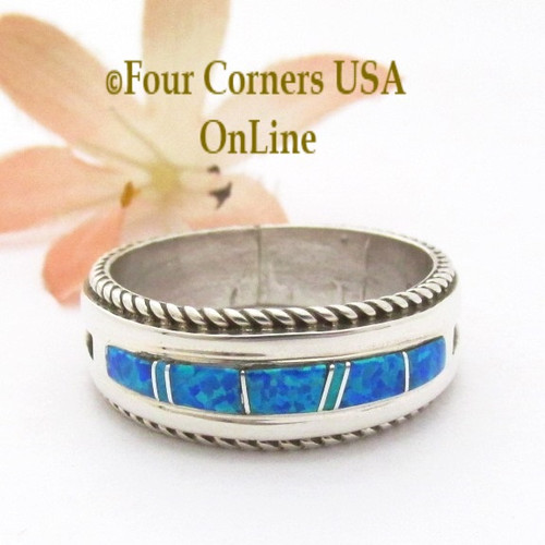 Size 12 Blue Fire Opal Inlay Band Ring Navajo Artisan Wilbert Muskett Jr WB-1818 Four Corners USA OnLine Native American Indian Silver Jewelry