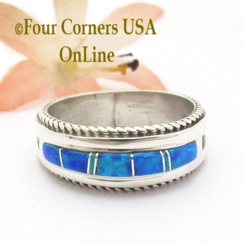 Size 12 1/2 Blue Fire Opal Inlay Band Ring Navajo Artisan Wilbert Muskett Jr WB-1820 Four Corners USA OnLine Native American Indian Silver Jewelry