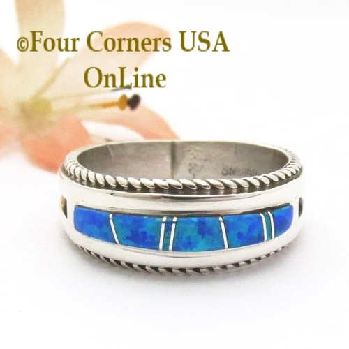 Size 12 1/2 Blue Fire Opal Inlay Band Ring Navajo Artisan Wilbert Muskett Jr WB-1821 Four Corners USA OnLine Native American Indian Silver Jewelry