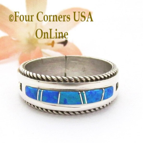 Size 13 Blue Fire Opal Inlay Band Ring Navajo Artisan Wilbert Muskett Jr WB-1822 Four Corners USA OnLine Native American Indian Silver Jewelry