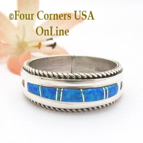Size 13 Blue Fire Opal Inlay Band Ring Navajo Artisan Wilbert Muskett Jr WB-1823 Four Corners USA OnLine Native American Indian Silver Jewelry