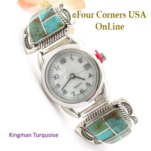 Kingman Turquoise Inlay Sterling Womens Watch On Sale at Four Corners USA OnLine Native American Navajo Silver Jewelry NAW-1455
