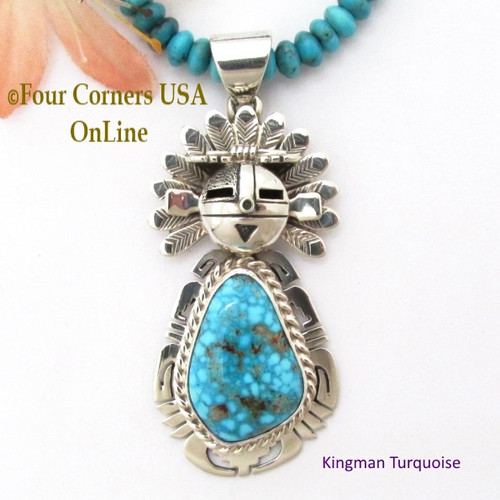 Kingman Turquoise Sun Kachina Pendant 21 Inch Bead Necklace Navajo Silversmith Freddy Charley On Sale Now at Four Corners USA OnLine Native American Jewelry NAP-1533BDS