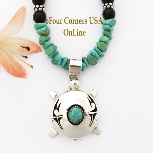 Sterling Silver Turtle Navajo Nelson Morgan Kingman Turquoise Bead 19 Inch Necklace NAN-1446 Four Corners USA OnLine Native American Artisan Jewelry