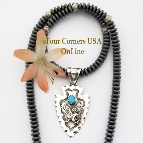 Arrowhead Eagle Turquoise Sterling Pendant 20 Inch Bead Necklace NAP-1474 Four Corners USA OnLine Native American Artisan Jewelry