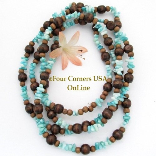 Wood Blue Coral Beads 54 Inch Continuous Strand Temporarily Strung WD-0011 Four Corners USA OnLine Jewelry Making Beading Supplies
