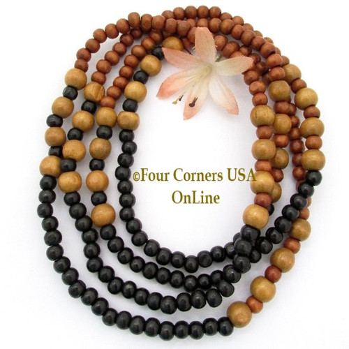 Wood Beads 32 Inch Continuous Strand Temporarily Strung WD-0014 Four Corners USA OnLine Jewelry Making Beading Supplies