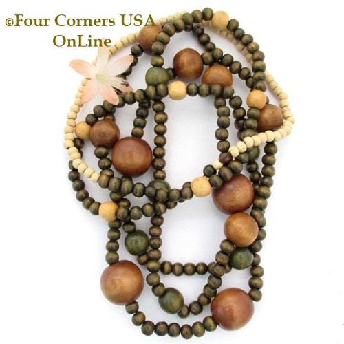 Earthtone Multi Color Size Wood Beads 76 Inch Continuous Strand Temporarily Strung WD-0015 Four Corners USA OnLine Jewelry Making Beading Supplies