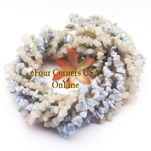 Blue Lace Agate Snow Quartz 36 Inch Medium Chip Bead 4 Strand Bulk Four Corners USA OnLine Designer Jewelry Making Beading Craft Supplies