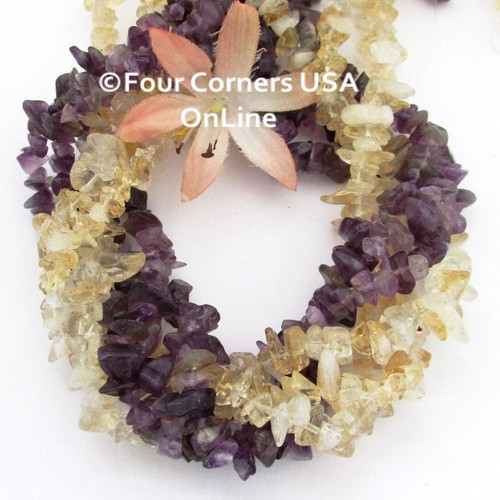 Amethyst Citrine 15 Inch Medium Chip Beads 9 Strands Bulk Package Closeout Final Sale BDS-16008 Four Corners USA OnLine Jewelry Making Beading Supplies