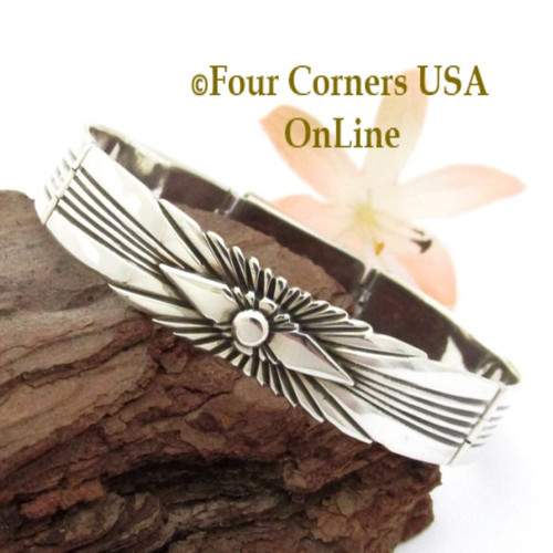 On Sale Silver Link Fitted 6 Inch Bracelet Box Clasp Navajo Lutricia Yellowhair NALB-161 Four Corners USA OnLine Native American Jewelry