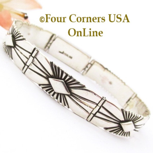 On Sale 7 Inch Silver Link Bracelet Box Clasp Navajo Artisan Lutricia Yellowhair NALB-163 Four Corners USA OnLine Native American Jewelry