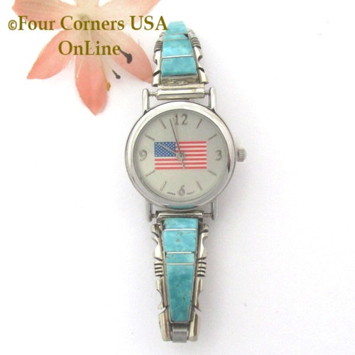 Women's Turquoise Inlay American Flag Watch Face Native American Sterling Silver Jewelry On Sale Now at Four Corners USA OnLine