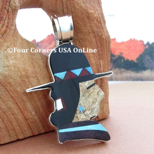 Native American Billy Jack Profile Inlay Pendant Navajo Artisan Calvin Desson NAP-1686 Four Corners USA Online Native American Jewelry