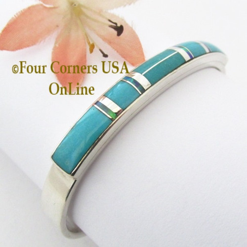 Turquoise Opal Fine Inlay Cuff Bracelet Navajo Silversmith Kenneth Bitsie Native American Jewelry Four Corners USA OnLine Native American Jewelry NAC-1446