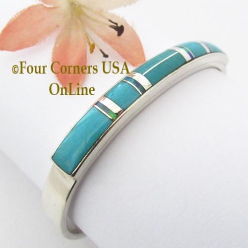 On Sale Now Turquoise Opal Fine Inlay Cuff Bracelet Navajo Silversmith Kenneth Bitsie Native American Jewelry Four Corners USA OnLine Native American Jewelry NAC-1446
