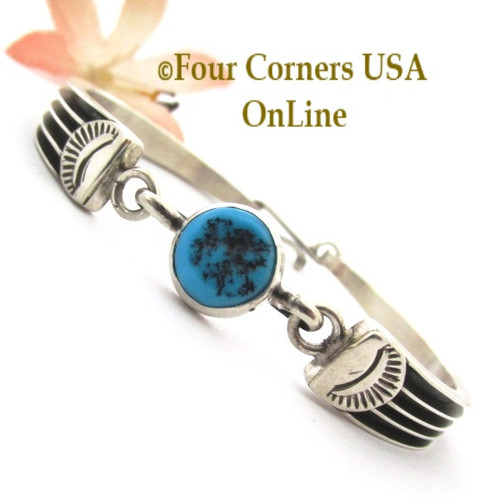 Turquoise Nugget Fitted Silver Link Bracelet Navajo Joan King NAC-1447 Four Corners USA OnLine Native American Jewelry