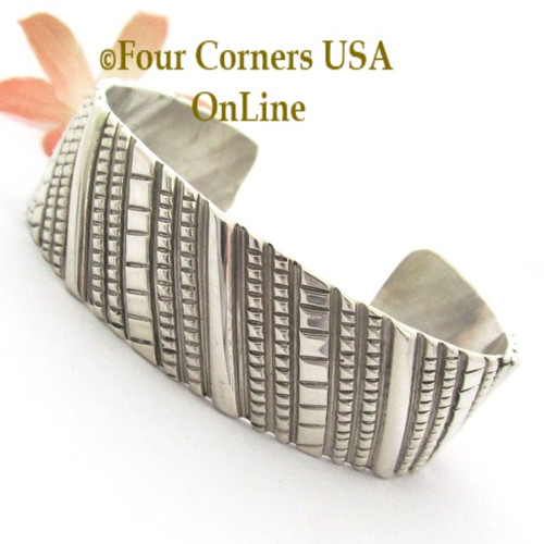 Contemporary All Sterling Silver Cuff Bracelet Navajo Tillie Jon NAC-1450 Four Corners USA OnLine Native American Jewelry