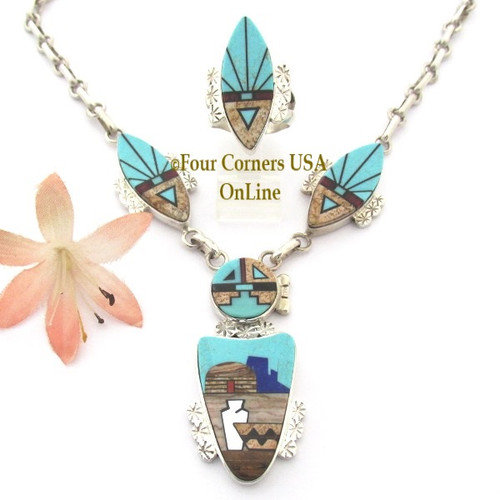 SunFace Pueblo Fine Inlay Jewelry Necklace Ring Set Navajo Artisan Calvin Desson NAN-1447 On Sale Now Four Corners USA OnLine Native American Jewelry