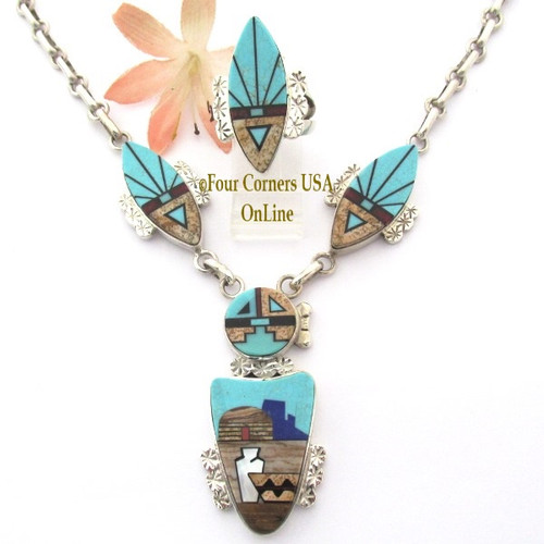 SunFace Pueblo Fine Inlay Jewelry Necklace Ring Set Navajo Artisan Calvin Desson NAN-1447 Four Corners USA OnLine Native American Jewelry