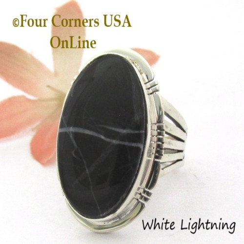 On Sale Now Size 8 1/4 White Lightning Marble Ring Navajo Silversmith Phillip Sanchez NAR-1893 Four Corners USA OnLine Native American Jewelry