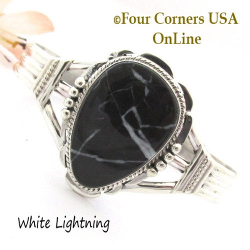 White Lightning Natural Marble Cuff Bracelet Navajo Silversmith John Nelson NAC-1455 Four Corners USA OnLine Native American Jewelry