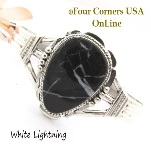 White Lightning Natural Marble Cuff Bracelet Navajo Silversmith John Nelson NAC-1455 Four Corners USA OnLine Native American Jewelry