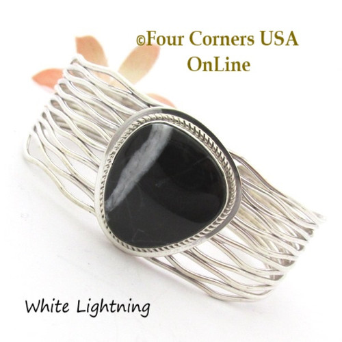White Lightning Weave Cuff Bracelet Navajo Silversmith Murphy Platero NAC-1457 Four Corners USA OnLine Native American Jewelry