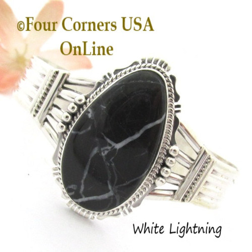 White Lightning Natural Marble Cuff Bracelet Navajo Silversmith John Nelson NAC-1456 Four Corners USA OnLine Native American Jewelry